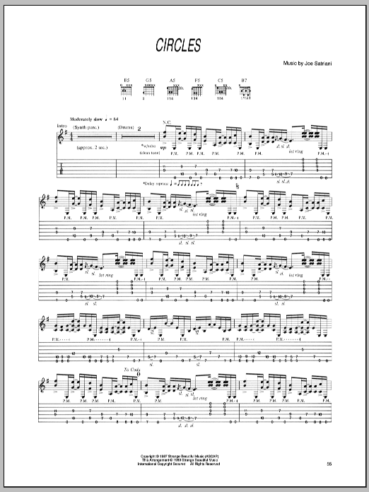 Joe Satriani Circles sheet music preview music notes and score for Guitar Tab including 5 page(s)