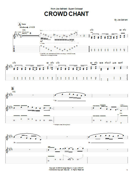 Joe Satriani Crowd Chant sheet music preview music notes and score for Guitar Tab including 7 page(s)