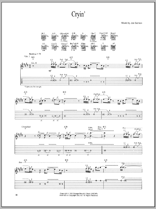 Joe Satriani Cryin' sheet music preview music notes and score for Guitar Tab including 8 page(s)
