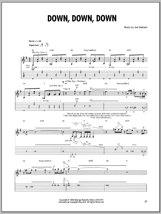 Joe Satriani Down, Down, Down sheet music preview music notes and score for Guitar Tab including 8 page(s)