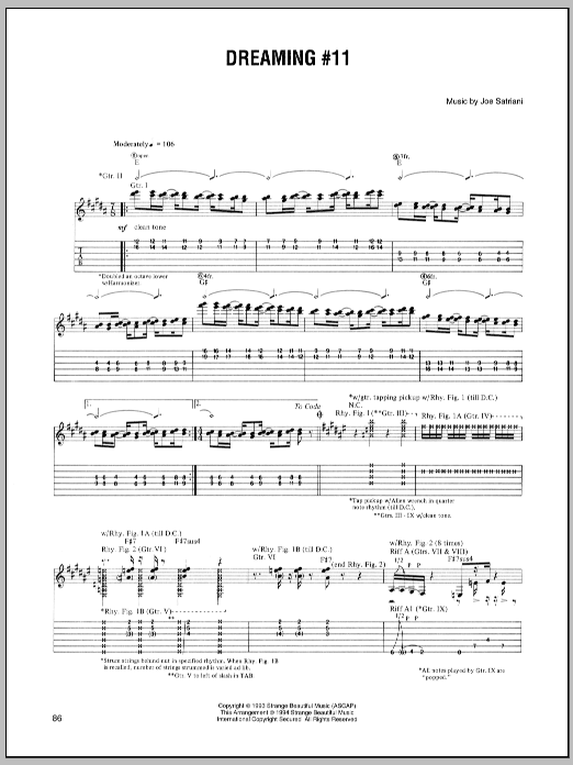 Joe Satriani Dreaming #11 sheet music preview music notes and score for Guitar Tab including 5 page(s)
