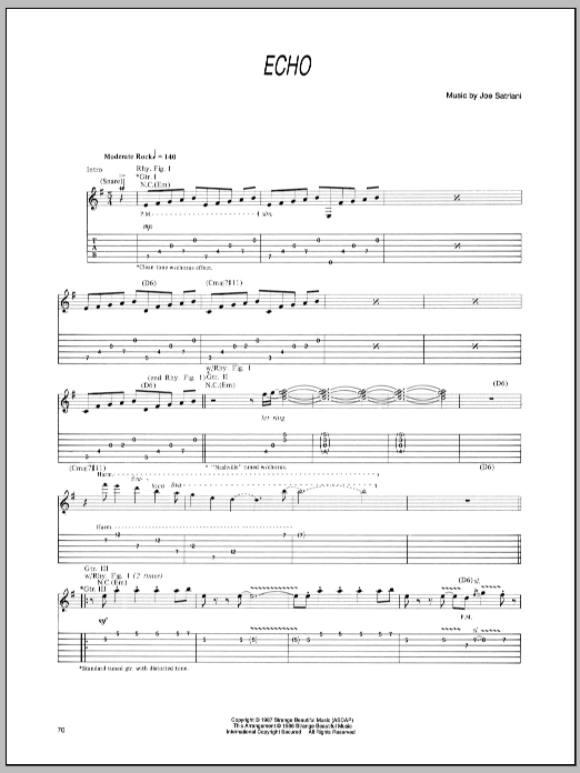 Joe Satriani Echo sheet music preview music notes and score for Guitar Tab including 10 page(s)