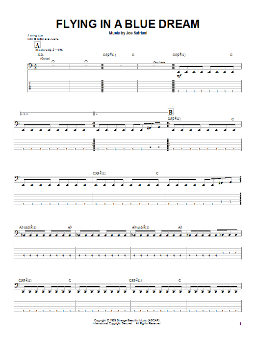 Joe Satriani Flying In A Blue Dream sheet music preview music notes and score for Guitar Tab including 10 page(s)