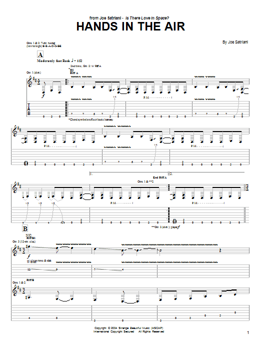 Joe Satriani Hands In The Air sheet music preview music notes and score for Guitar Tab including 8 page(s)