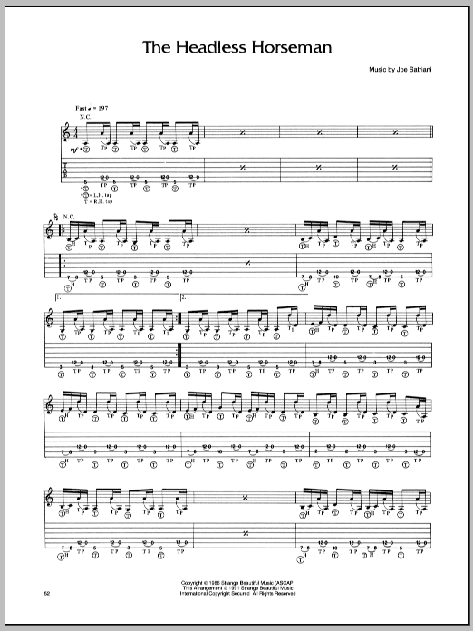 Joe Satriani Headless Horseman sheet music preview music notes and score for Guitar Tab including 3 page(s)