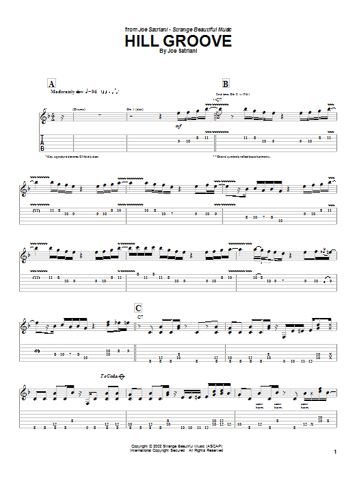 Joe Satriani Hill Groove sheet music preview music notes and score for Guitar Tab including 7 page(s)