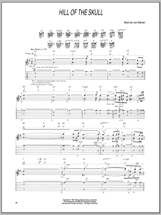 Joe Satriani Hill Of The Skull sheet music preview music notes and score for Guitar Tab including 2 page(s)