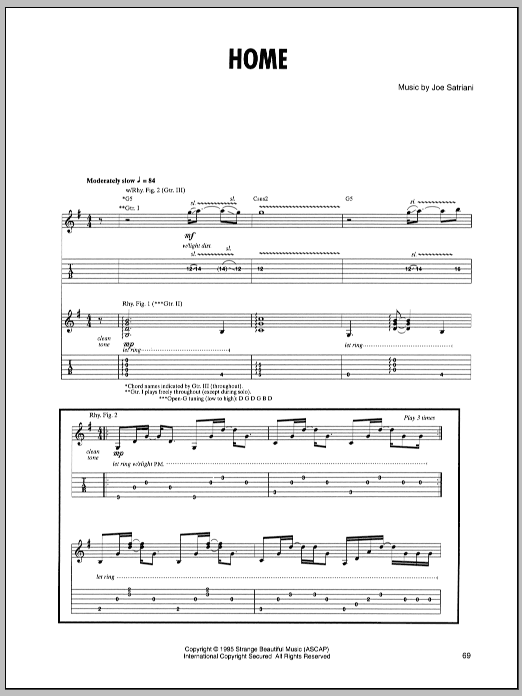 Joe Satriani Home sheet music preview music notes and score for Guitar Tab including 7 page(s)