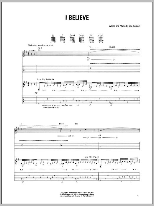 Joe Satriani I Believe sheet music preview music notes and score for Guitar Tab including 8 page(s)