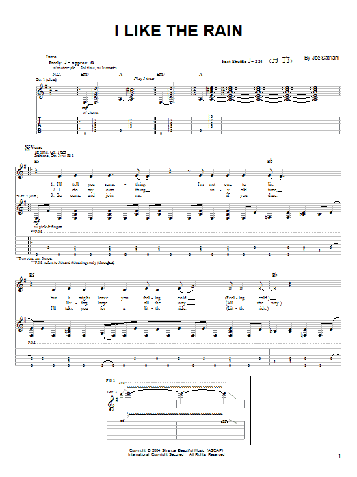Joe Satriani I Like The Rain sheet music preview music notes and score for Guitar Tab including 6 page(s)