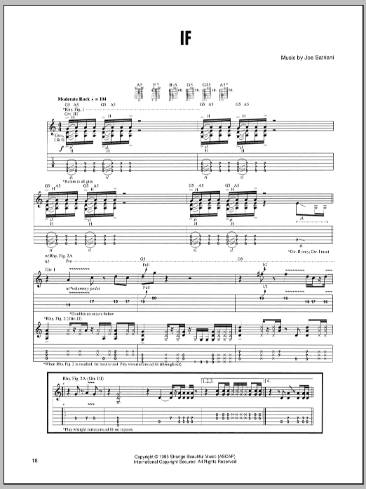 Joe Satriani If sheet music preview music notes and score for Guitar Tab including 11 page(s)