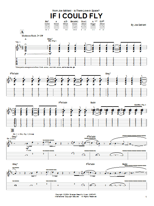 Joe Satriani If I Could Fly sheet music preview music notes and score for Guitar Tab including 13 page(s)