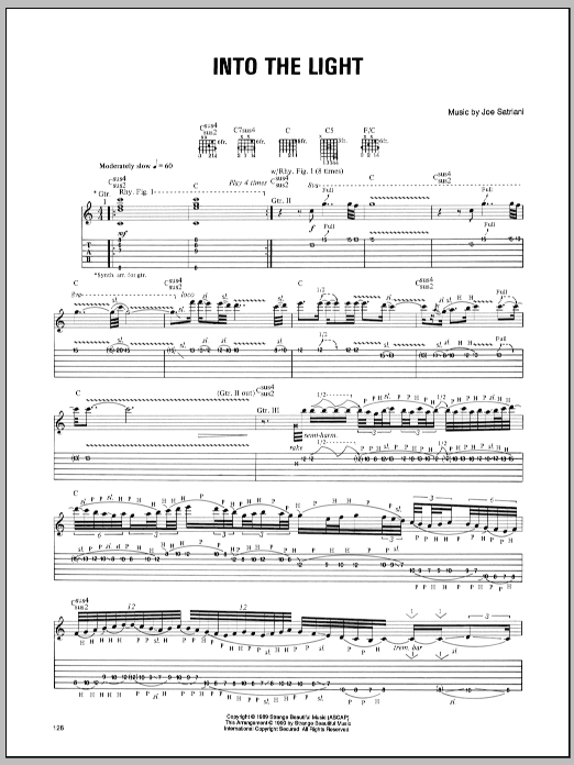 Joe Satriani Into The Light sheet music preview music notes and score for Guitar Tab including 2 page(s)