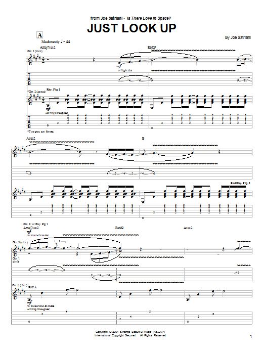 Joe Satriani Just Look Up sheet music preview music notes and score for Guitar Tab including 8 page(s)