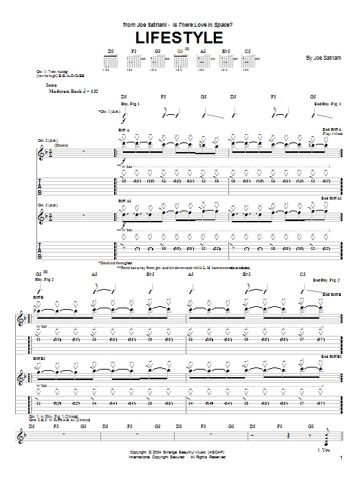Joe Satriani Lifestyle sheet music preview music notes and score for Guitar Tab including 8 page(s)
