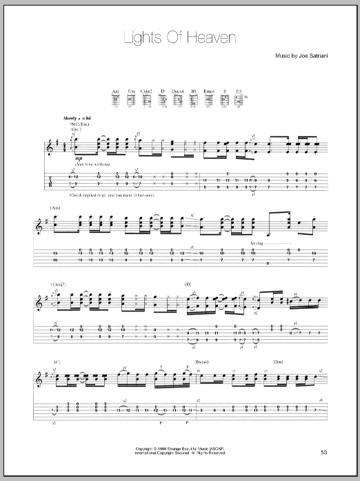 Joe Satriani Lights Of Heaven sheet music preview music notes and score for Guitar Tab including 14 page(s)