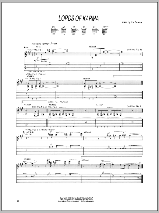 Joe Satriani Lords Of Karma sheet music preview music notes and score for Guitar Tab including 7 page(s)