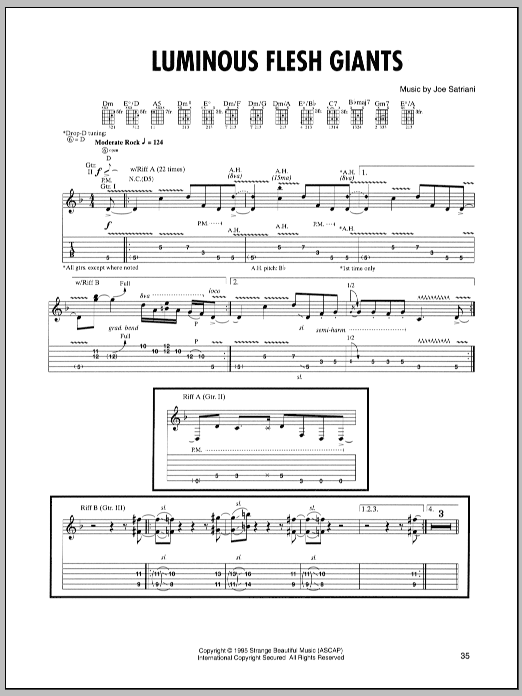 Joe Satriani Luminous Flesh Giants sheet music preview music notes and score for Guitar Tab including 14 page(s)