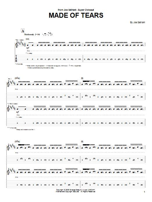 Joe Satriani Made Of Tears sheet music notes and chords