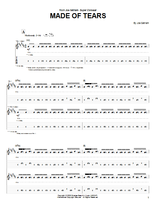 Joe Satriani Made Of Tears sheet music preview music notes and score for Guitar Tab including 18 page(s)