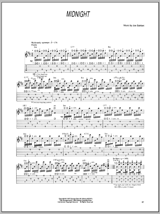 Joe Satriani Midnight sheet music preview music notes and score for Guitar Tab including 3 page(s)