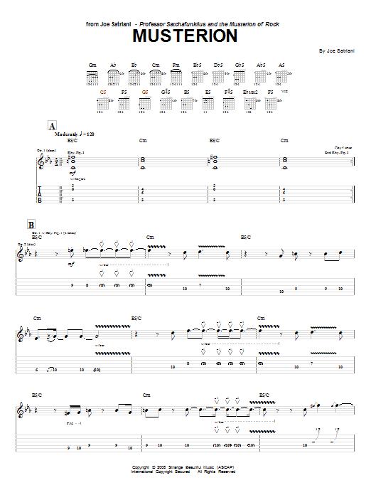 Joe Satriani Musterion sheet music notes and chords