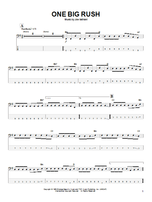 Joe Satriani One Big Rush sheet music preview music notes and score for Guitar Tab including 10 page(s)