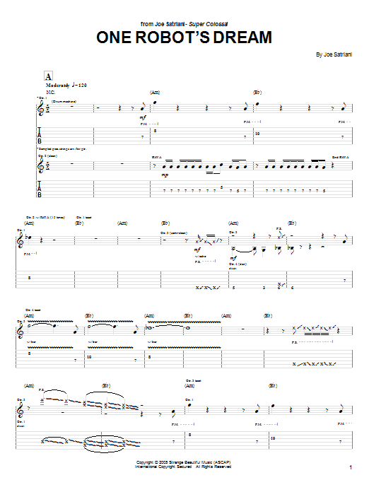 Joe Satriani One Robot's Dream sheet music notes and chords