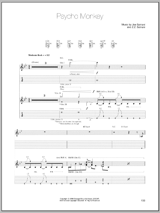 Joe Satriani Psycho Monkey sheet music preview music notes and score for Guitar Tab including 10 page(s)