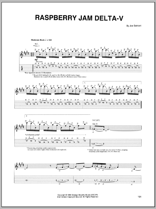 Joe Satriani Raspberry Jam Delta-V sheet music preview music notes and score for Guitar Tab including 12 page(s)