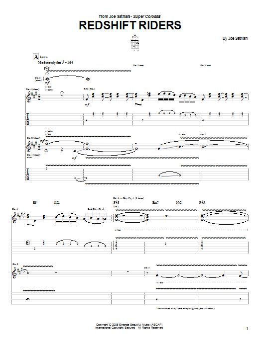 Joe Satriani Redshift Riders sheet music notes and chords