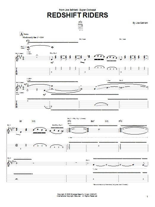 Joe Satriani Redshift Riders sheet music preview music notes and score for Guitar Tab including 13 page(s)