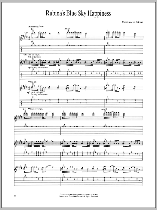 Joe Satriani Rubina's Blue Sky Happiness sheet music preview music notes and score for Guitar Tab including 15 page(s)