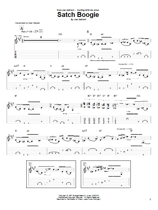 Joe Satriani Satch Boogie sheet music preview music notes and score for Guitar Tab including 8 page(s)