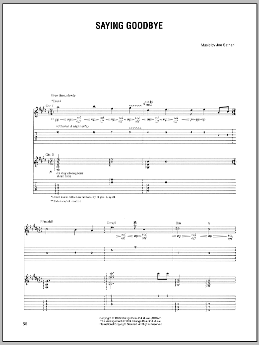 Joe Satriani Saying Goodbye sheet music preview music notes and score for Guitar Tab including 4 page(s)