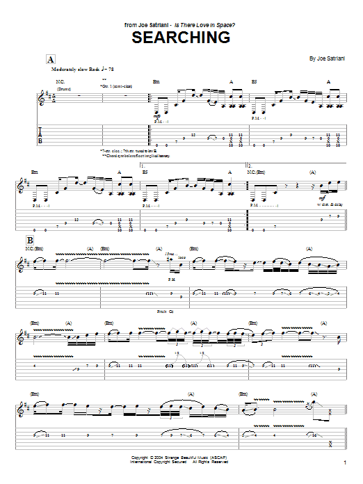 Joe Satriani Searching sheet music preview music notes and score for Guitar Tab including 15 page(s)