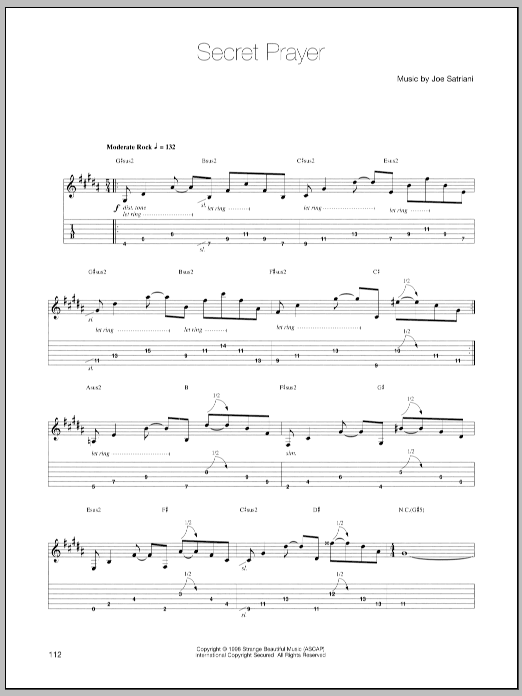 Joe Satriani Secret Prayer sheet music preview music notes and score for Guitar Tab including 8 page(s)