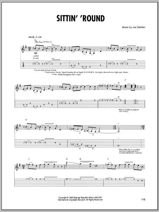 Joe Satriani Sittin' Round sheet music preview music notes and score for Guitar Tab including 5 page(s)