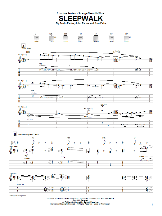 Joe Satriani Sleepwalk sheet music notes and chords