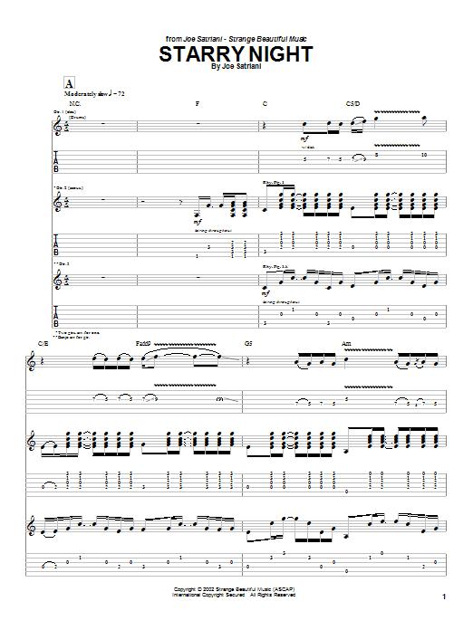 Joe Satriani Starry Night sheet music notes and chords