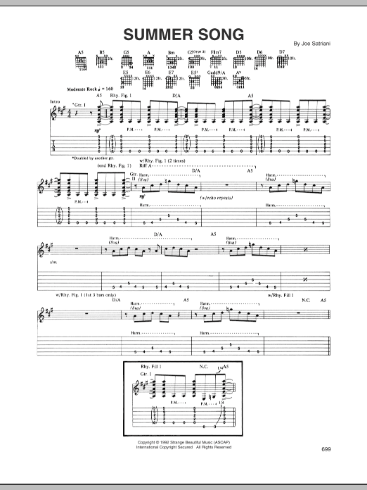 Joe Satriani Summer Song sheet music preview music notes and score for Guitar Tab including 13 page(s)