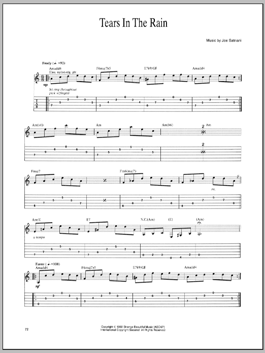 Joe Satriani Tears In The Rain sheet music preview music notes and score for Guitar Tab including 2 page(s)