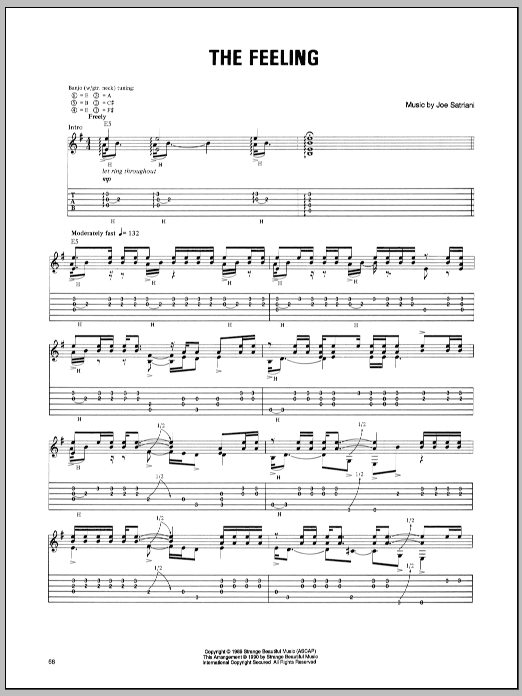 Joe Satriani The Feeling sheet music preview music notes and score for Guitar Tab including 2 page(s)