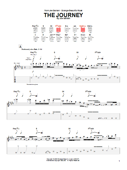 Joe Satriani The Journey sheet music preview music notes and score for Guitar Tab including 10 page(s)