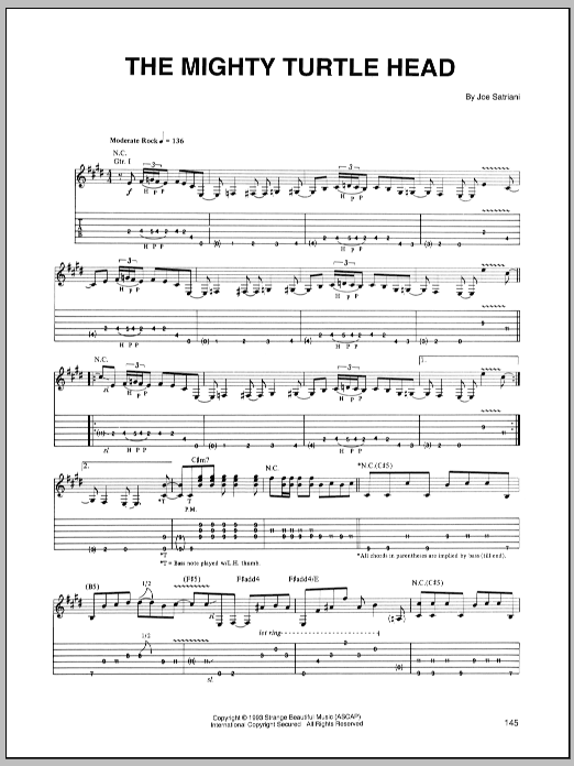 Joe Satriani The Mighty Turtle Head sheet music preview music notes and score for Guitar Tab including 9 page(s)