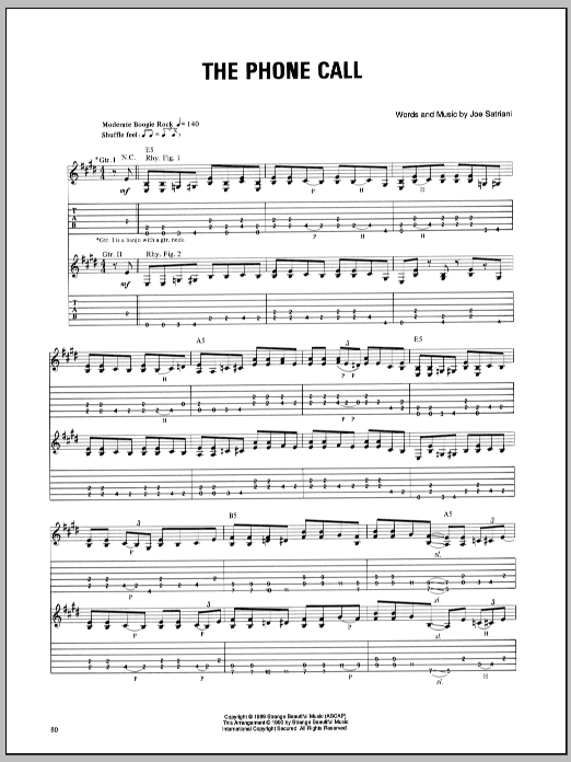 Joe Satriani The Phone Call sheet music preview music notes and score for Guitar Tab including 6 page(s)