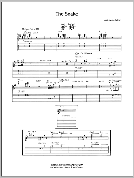 Joe Satriani The Snake sheet music preview music notes and score for Guitar Tab including 6 page(s)