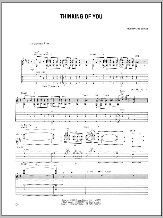 Joe Satriani Thinking Of You sheet music preview music notes and score for Guitar Tab including 6 page(s)
