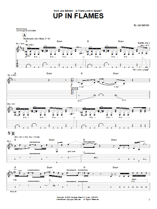 Joe Satriani Up In Flames sheet music preview music notes and score for Guitar Tab including 11 page(s)