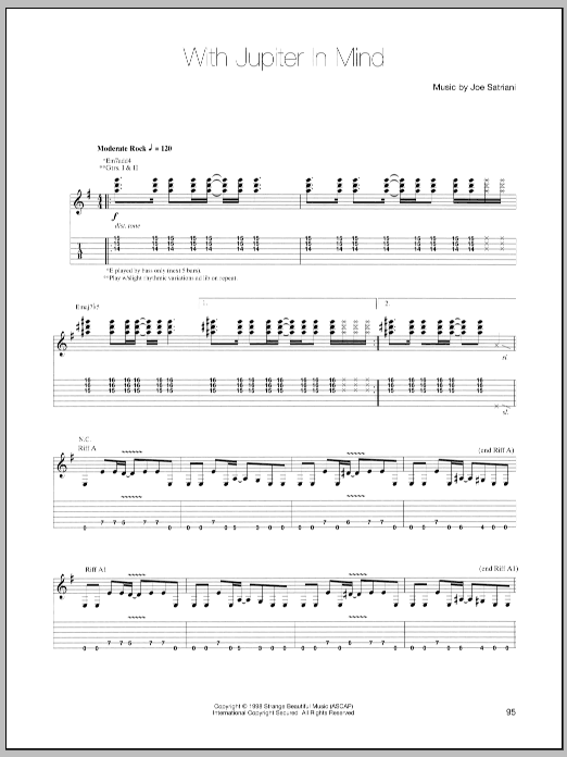 Joe Satriani With Jupiter In Mind sheet music preview music notes and score for Guitar Tab including 17 page(s)